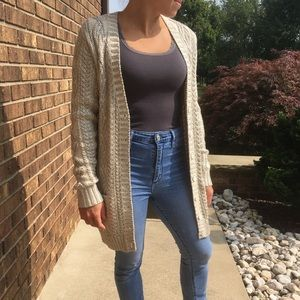 Sparkly metallic cable knit cardigan